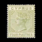 TUT1842 - Cyprus - QV wmk. CC Die I  4pi. Pale olive-green. CLICK FOR FULL DESCRIPTION
